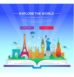 around the world - line travel vector image