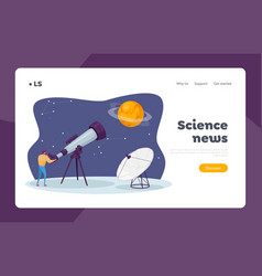 Astronomy science landing page template male vector