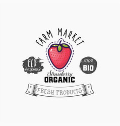 bio sticker and eco products strawberry web vector image