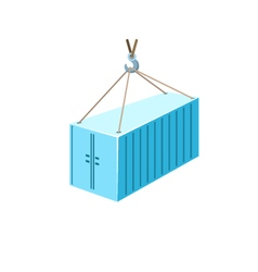 Blue Container Hanging on Crane Hook vector