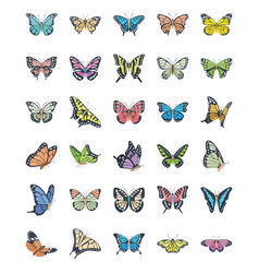 Butterfly flat icons set vector