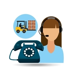 Call centre woman working carrying boxes vector