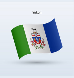 Canadian territory of yukon flag waving form vector