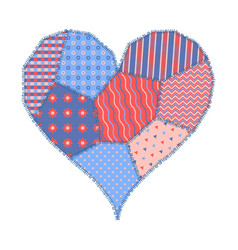 card with patchwork heart vector image