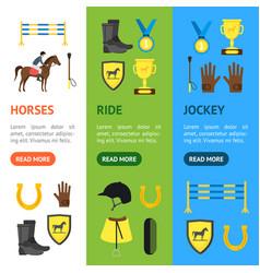 cartoon equipment jockey and element banner vector image
