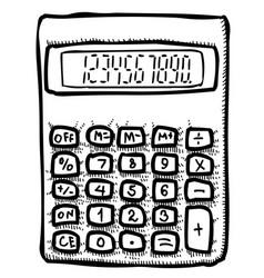 cartoon image of calculator icon mathematics vector image