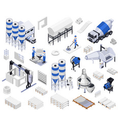 cement production isometric icons vector image