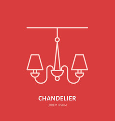 Chandelier flat line icon logo for lamp vector