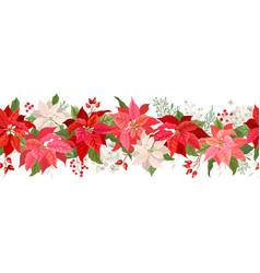 christmas poinsettia garland border vector image