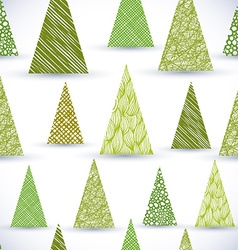 Christmass tree seamless pattern hand drawn lines vector image