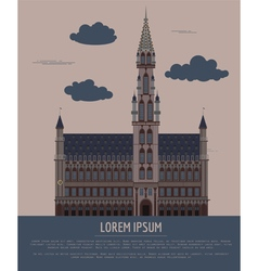City buildings graphic template Belgium town hall vector
