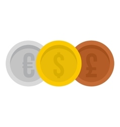 Coins euro with dollar and pound icon flat style vector image