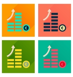 Concept of flat icons with long shadow coins graph vector image