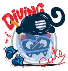 Cute cartoon cat diving in a fishbowl vector
