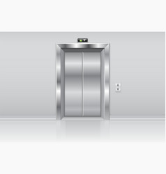 elevator doors metal closed doors on the wall vector image
