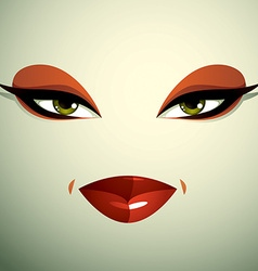 Face makeup lips and eyes of an attractive woman vector image