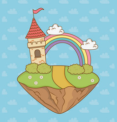 fairytale castle with rainbow in the field scene vector image