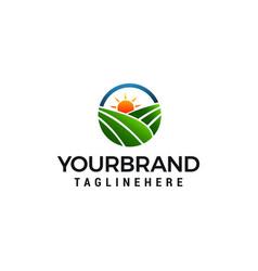 field sun logo farm logo design concept template vector image