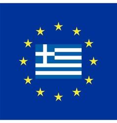 Flag of Greece at the EU flag vector