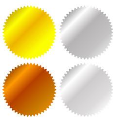 Flat gold silver bronze badge award icons vector