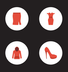 flat icons apparel heeled shoe sweatshirt and vector image