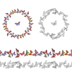 Frame made of different butterflies Seamless vector image