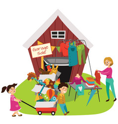 Garage sale sellers sell old goods low price vector