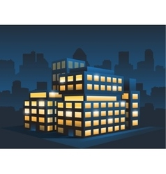 Generic corporate modern office building at night vector