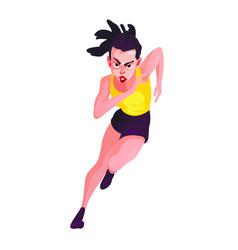 Girl running on white background triathlon vector