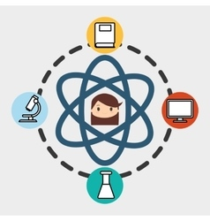 girl school student molecule laboratory pc vector image
