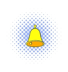Golden hand bell icon comics style vector