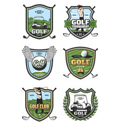 Golf tournament sport club heraldry icons vector