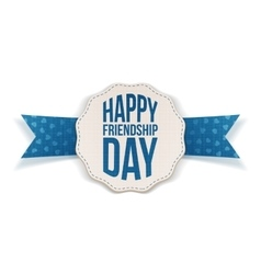 Happy Friendship Day Banner with blue Ribbon vector