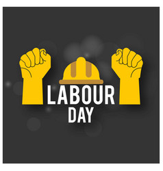 Happy labor day simple typography with workers vector