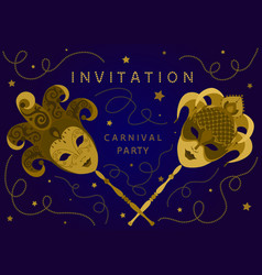 horizontal blue carnival party invitation card vector image