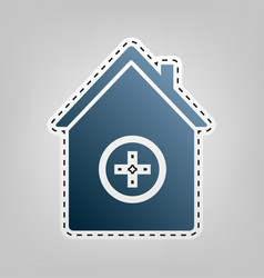Hospital sign blue icon with vector