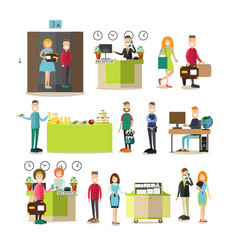 hotel workers and guests in vector image