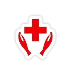 Icon sticker realistic design on paper health logo vector