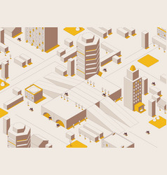 isometric city concept in outline style buildings vector image