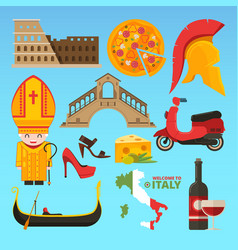 Italian symbols isolate pictures in flat vector
