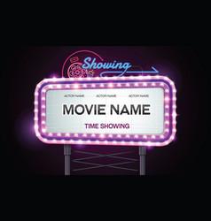 Light sign billboard cinema theatre vector