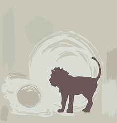 lion silhouette on grunge background vector image