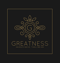 Luxurious letter g logo with classic line art vector