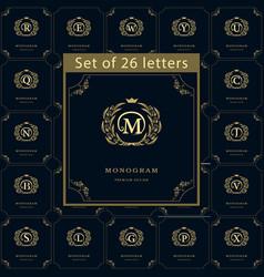 Monogram design elements graceful template set vector
