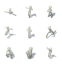 motion animation icons set isometric style vector image