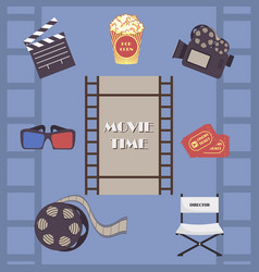 Movie time set camera and film icons vector