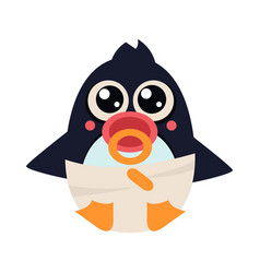 penguin bain pampers with a nipple vector image