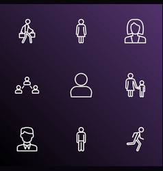 person icons line style set with businesswoman vector image