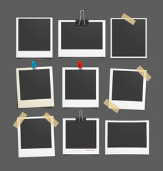Photo frame Set of realistic paper photograph vector
