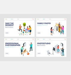 Photo shoot landing pages isometric professional vector